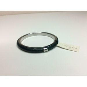 New Talbots Bangle Bracelet Green Leather Silver